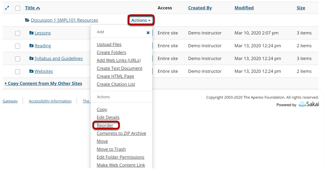 Image of reorder option.