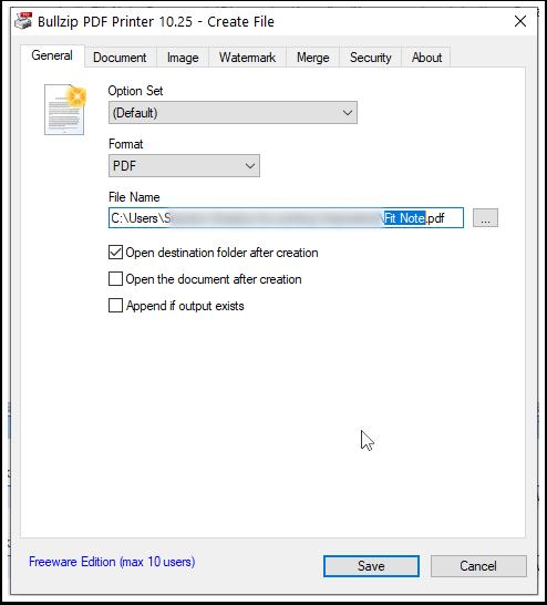 Bullzip PDF Printer 10.25 - Create File