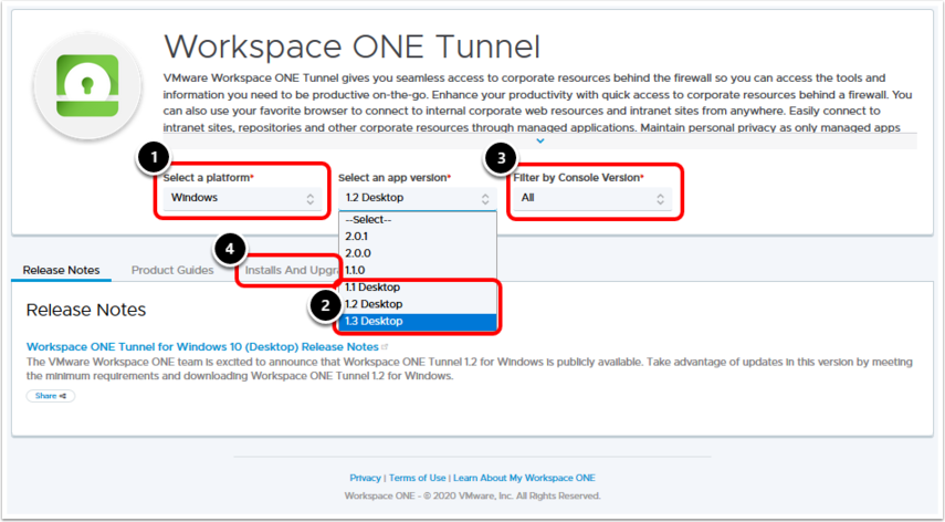 Download the Workspace ONE Tunnel Desktop Application exe Installer