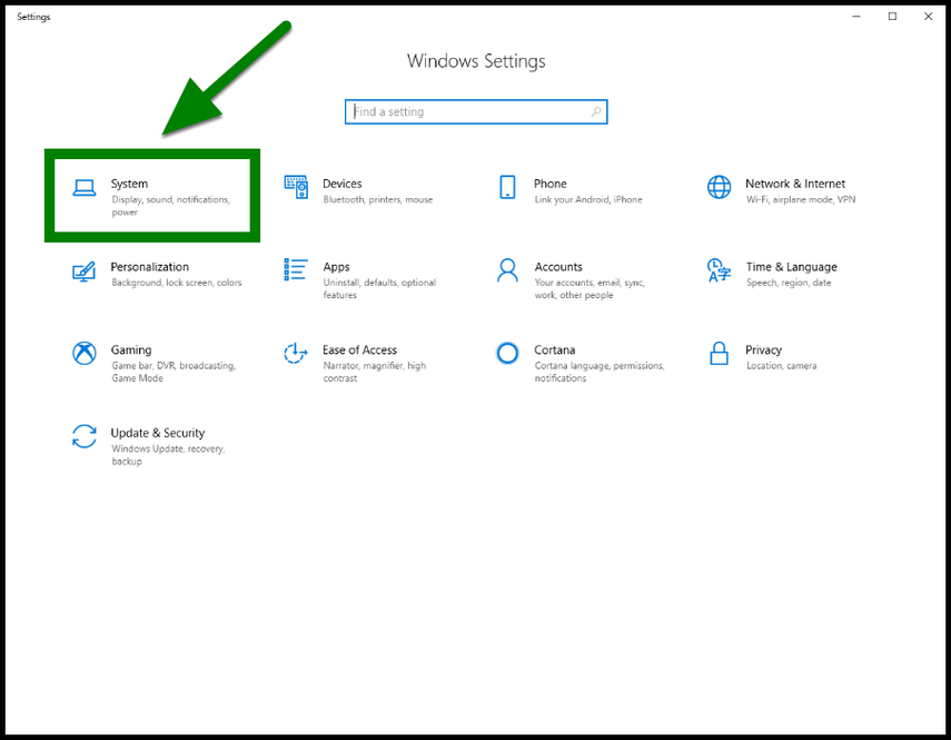 Green highlight showing location of System settings to locate computer name.