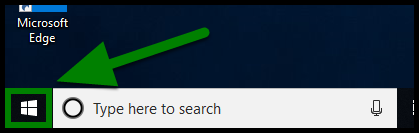 Green highlights showing location of Windows icon.
