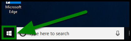 Green highlights showing location of Windows flag icon.