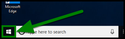 Green highlights showing location of Windows icon to find computer's name.