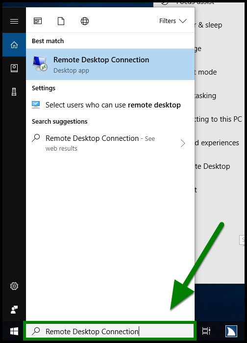 Green highlights showing how to type in Remote Desktop Connection in the search bar.