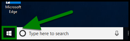 Green highlights accessing the Windows icon in the lower left-hand corner.