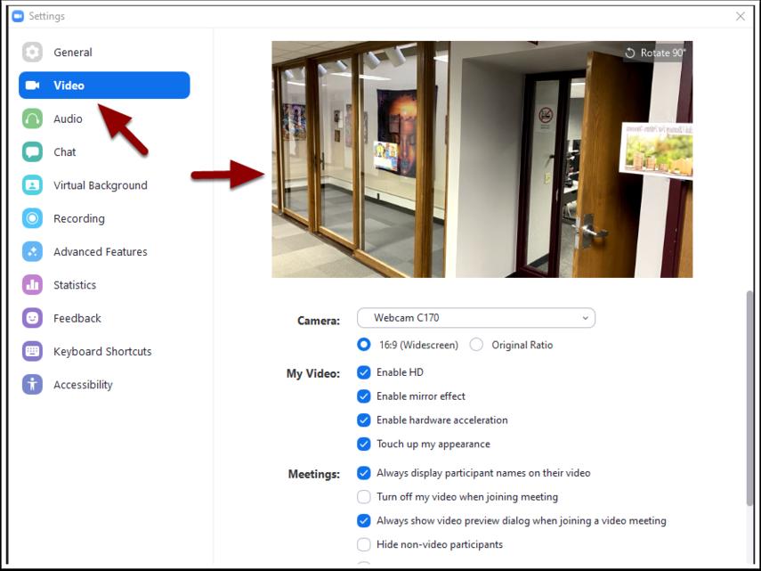 Zoom video settings window