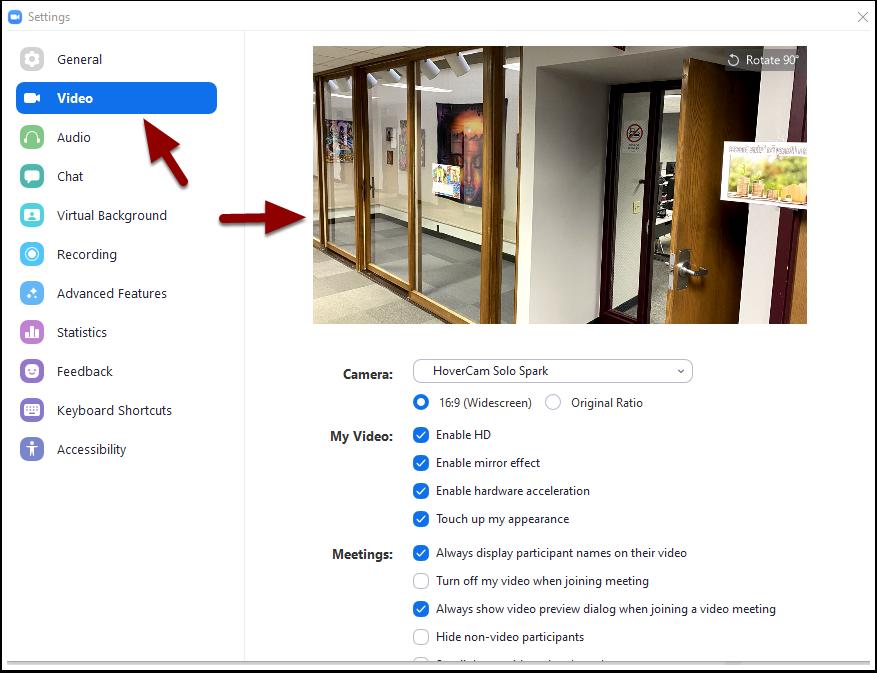 meeting settings window - video