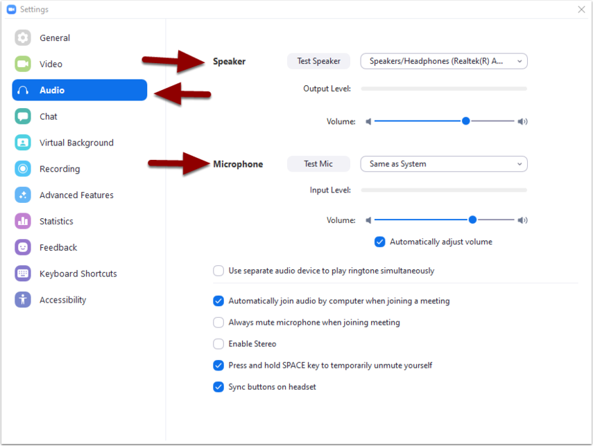 meeting settings menu - audio