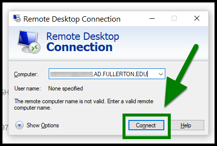 Green highlights showing location of Connect button.
