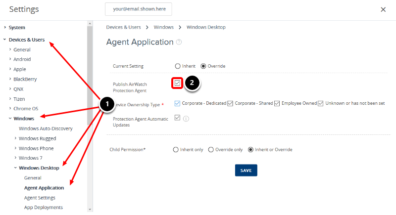 Verify the AirWatch Protection Agent is configured correctly in the Workspace ONE UEM console