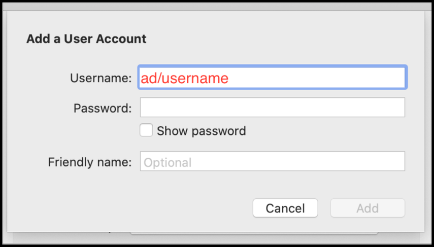Type in the username and password.