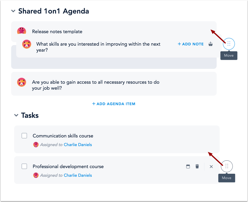 Reorder Agenda and Task Items