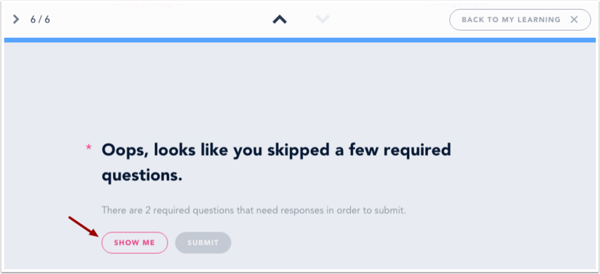 View Required Questions Message