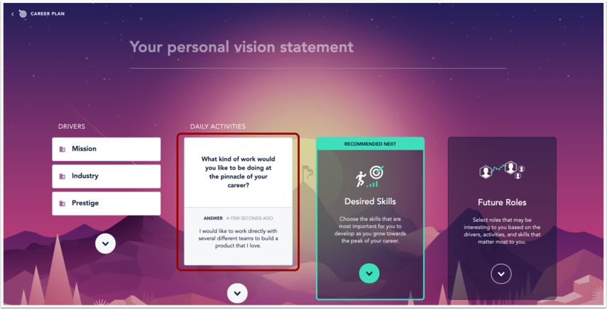 Career Everest page with Daily Activities card populated
