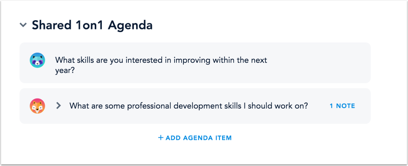 View 1on1 Agenda