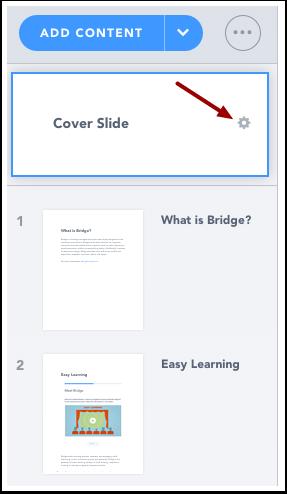 Open Cover Slide Settings