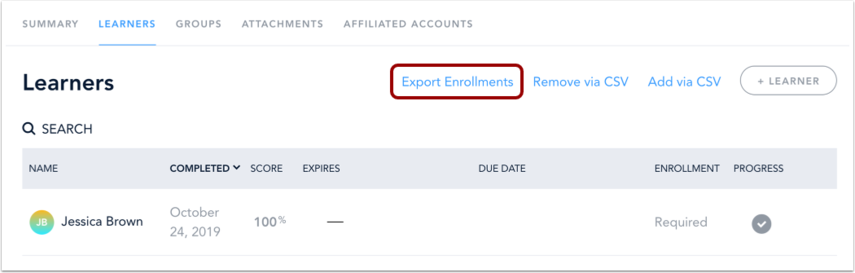 Export Enrollments