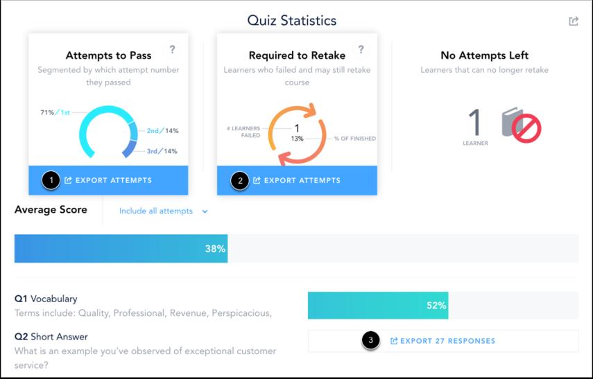 Export Quiz Statistic CSVs