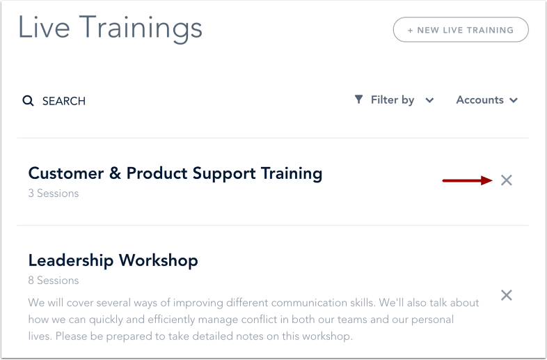 Delete Live Training