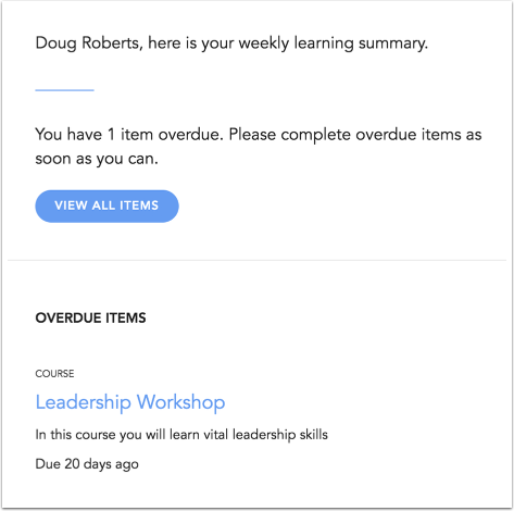 View Learning Summary Notification