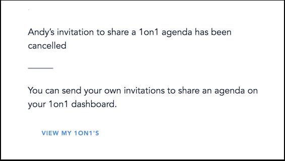 View 1on1 Agenda Cancellation