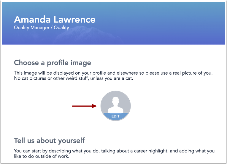 Image of profile editor page with Edit Profile Picture button highlighted