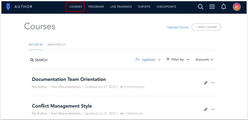 View Courses Page