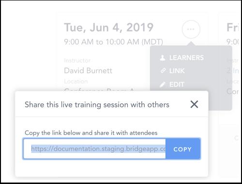 Copy Session Registration Link