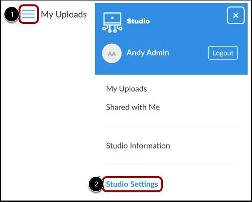 Open Studio Settings