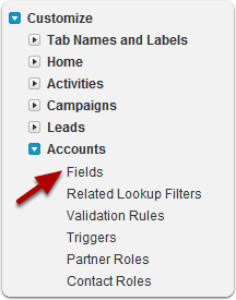 Go to one of the following areas to add a field to Accounts...