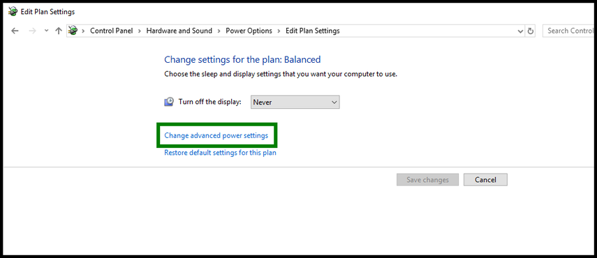 Green highlight showing change advanced power settings to never.