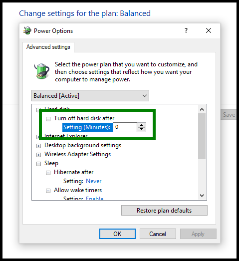 Green highlight showing hard disk settings set to zero minutes.