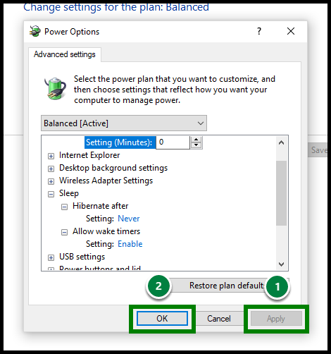 Green highlights showing location of Apply and Ok button.