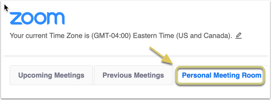 Click on the 'Personal Meeting Room' tab