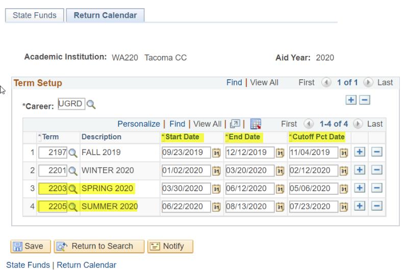 Return Calendar page