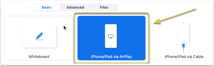 Click 'Share Screen', the 'iPhone/iPad via AirPlay' option, and 'Share'.