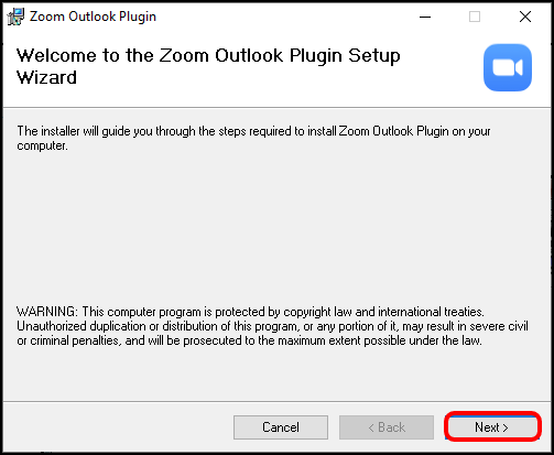 Zoom Outlook Plug-In Installation Wizard with Next button highlighted