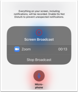 You may now swipe to change to another app or to the camera to broadcast that view to the meeting.