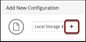 Add a new Storage Configuration