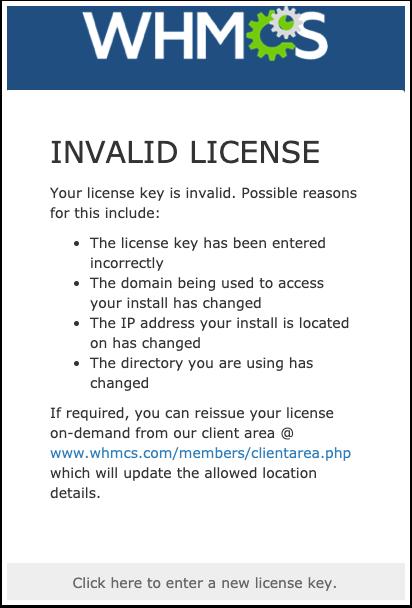WHMCS - Invalid License