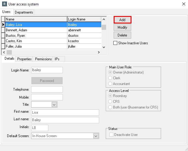 Adding a User