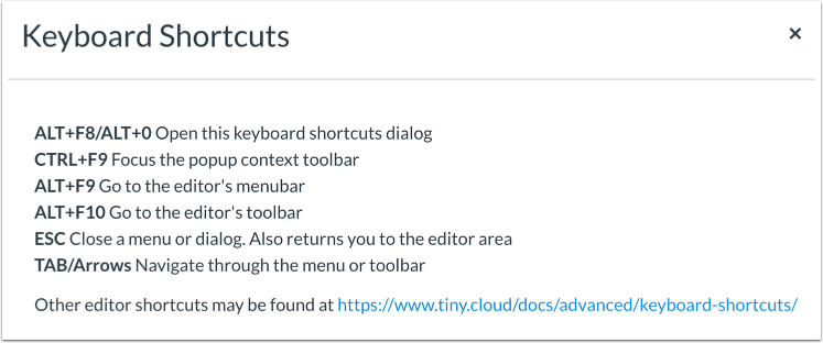 View Keyboard Shortcuts Menu