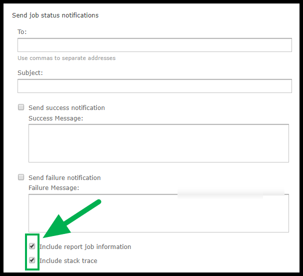 Arrow pointing to checked boxes