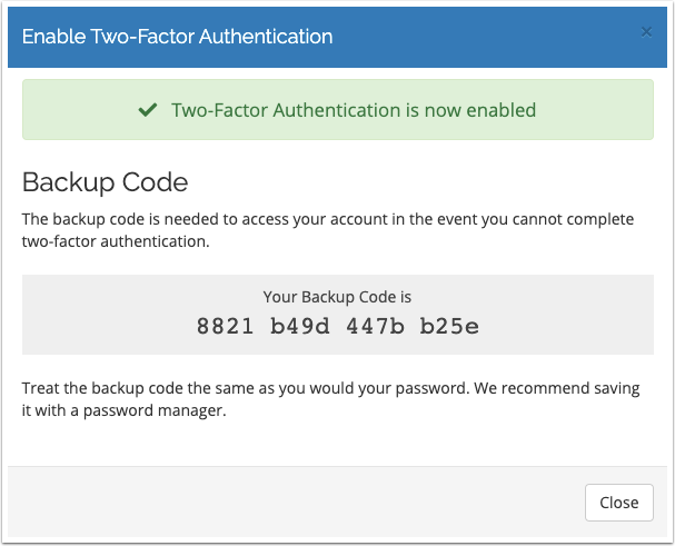 Take a note of the Backup Code