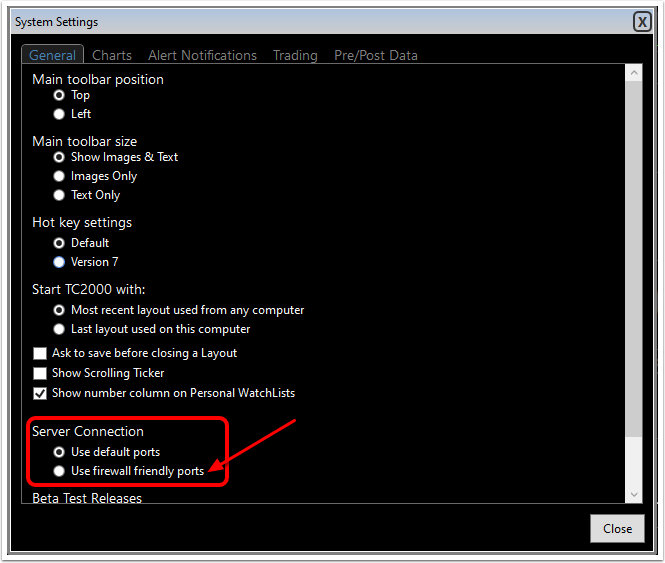 2) Choose the General tab, then click on Use firewall friendly ports.
