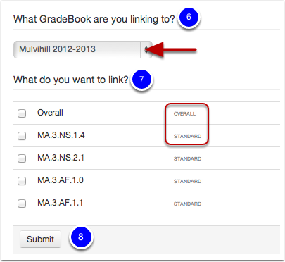Selecting your GradeBook and What to Link