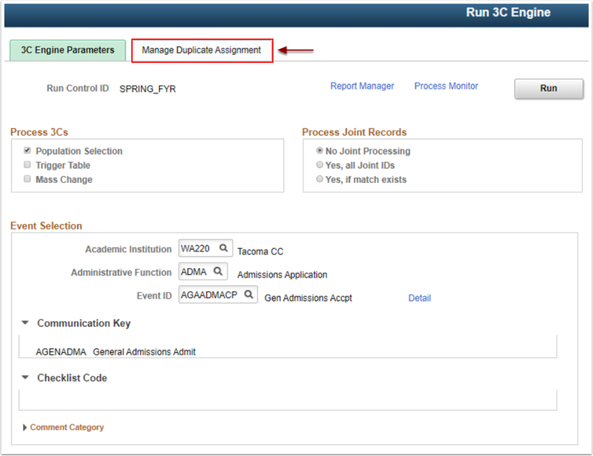 Manage Duplicate page