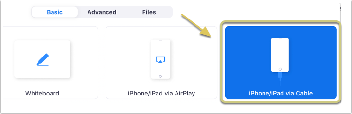 Note that if you are using a Mac, you may also share from an iPad/iPhone using a wired connection.