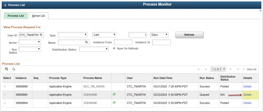 Process Detail Page Detail link