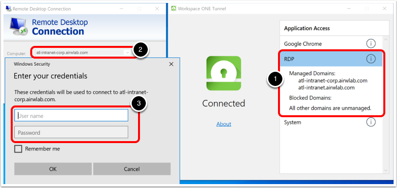 Testing RDP Connections with VMware Tunnel